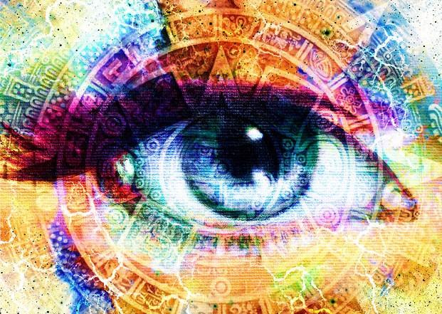Abstract Image: Ancient Mayan Calendar and Woman Eye